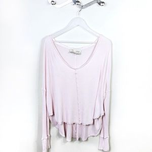 Anthro Saturday Sunday Pink Thermal V-Neck Size M